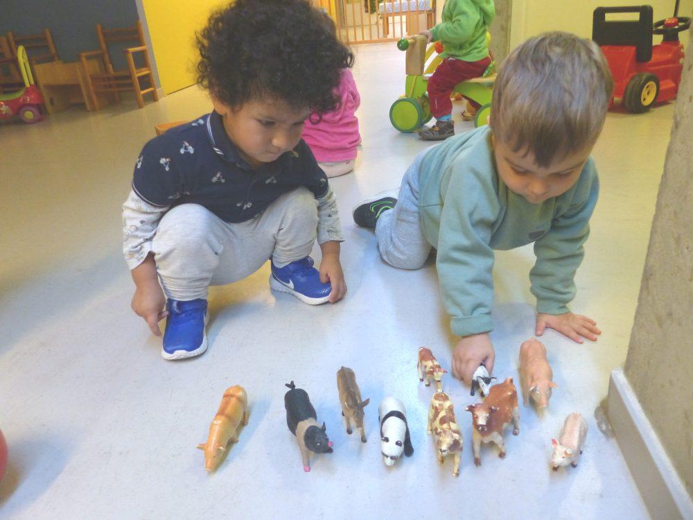 El Marc i el Jorge juguen amb uns animals